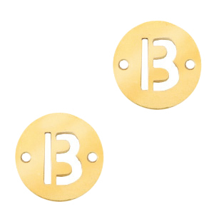 Roestvrij stalen (RVS) Stainless steel bedels tussenstuk rond 10mm initial coin B Goud