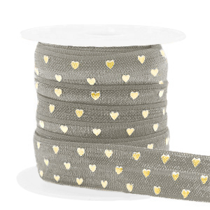 Elastisch lint hearts Taupe-gold