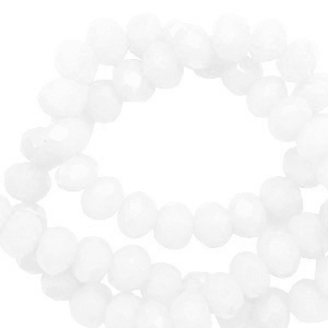 Top Facet kralen 4x3 mm disc Soft white-pearl shine coating