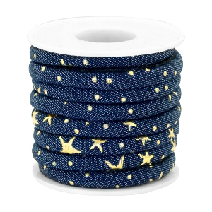 Trendy gestikt koord denim 6x4mm Dark midnight blue-gold