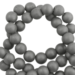 Hematite kralen rond 4mm mat Anthracite grey