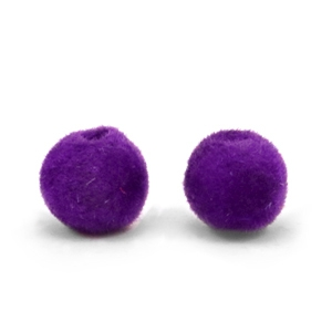 Velvet pompom kralen 8mm Royal purple